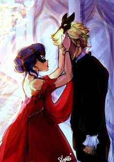 """shaniartist: """" miraculous masquerade ball AU -""""the reveal""""- . fee free to add your headcanons for this au """" I kinda did a bit more than headcanon…Hope you don't mind… """"The Lucky Lady"""". Couple Drawings, Noir, Animation, Miraclous Ladybug, Art, Anime, Cartoon, Fan Art, Ladybug"""
