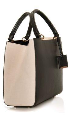 Jil Sander Leather Handcarry #Bag - canvas insert