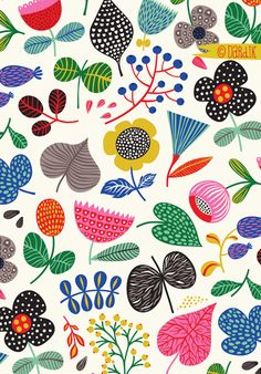 Scandinavian Pattern design - A nice contrast to a scene that's taking place outside my window Wanted to do something bright and cheerful to outweigh the winter blues Hope it cheers you up too) Design Textile, Art Design, Fabric Design, Motif Design, Scandinavian Pattern, Scandinavian Folk Art, Illustration Blume, Pattern Illustration, Magazine Illustration