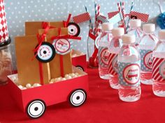 Vens Paperie Birthday Party Radio Flyer Red Wagon Theme Decorations