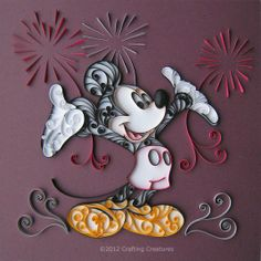 Mickey and Fireworks Paper Art