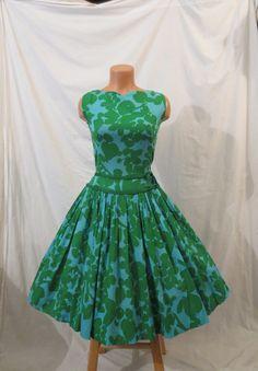 SPRING FLING green blue floral cotton tea dress by johnnybombshell, $55.00