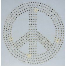 Peace Sign iron on rhinestone design