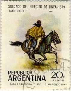 Stamp of Argentina showing a Gaucho. Gaucho is a 'cowboy' of the South American…