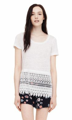 Matalin Lace Top - Short Sleeve Knits and Tees from Club Monaco Canada Club Monaco, What To Pack, Minimal Fashion, Clothes Horse, Boho Shorts, What To Wear, Short Dresses, Knitting, Tees