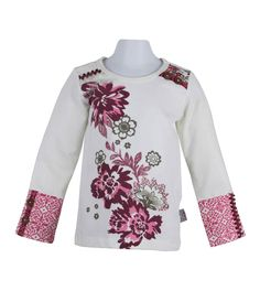 glitter floral graphic top with print cuffs