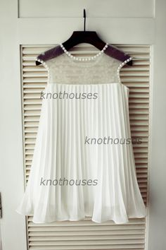 4db3c89a50c Ivory Pleated Chiffon Cap Sleeves Beaded Tulle by knothouses Tulle Flower  Girl