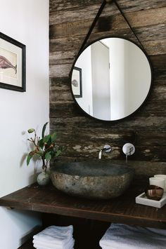 The bathroom features an oversized stone basin and a round mirror from Kmart. Bathroom Styling, Bathroom Interior Design, Decor Interior Design, Interior Decorating, Bathroom Storage, Decorating Tips, Modern Bathroom, Small Bathroom, New Bathroom Ideas