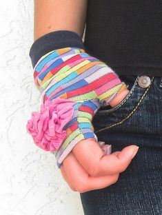 Fingerless mittens with a sock DIY~ perfect way to reuse the socks that get a hole in the toe.
