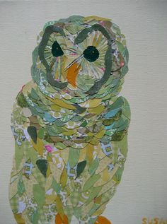 Owl Collage in Greens Limited Edition Print. Susannah Raine-Haddad, owner of Zou Zou's Basement is bringing her art to this year's Classroom Art Projects, Art Classroom, Chicken Quilt, Whimsical Owl, Postage Stamp Art, Ecole Art, Owl Art, Art Club, Art Journal Inspiration