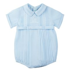 9b6391bb2236 Feltman Brothers baby boy blue belted creeper with pintuck detail