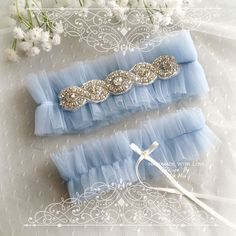 Luxury Light French Blue soft Silk Tulle GarterSet , rhinestone, Something Blue ,Ballerina Ruffles Tutu Bridal Lingerie Wedding ,bow,l Bling