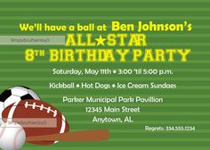 All Star Sports Birthday  Invitation by SimplySouthernbyD on Etsy, $8.90