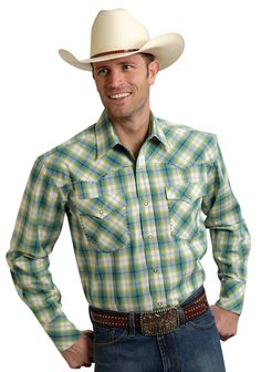 Roper Mens 9541 Lemon Grass Plaid Amarillo Lemon Grass Long Sleeve Shirt Snap Closure - 2 Pocket