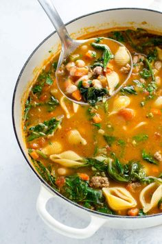 Italian Sausage Soup with Beans and Spinach | Umami Girl