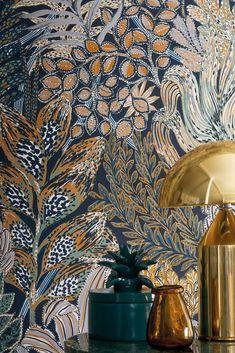 Crème Schimmer Tapete Petrol Designtapete Palmwedel floral