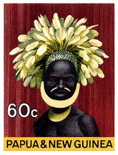 Vintage 1968 postage stamp from a series of four issued by Papua & New Guinea each depicting a native traditional headdress. papua,guinea,oceania,headdress,native,paradise,vintage,postage,stamp,mail,ephemera,island,costume,feathers tribe,tribal,jungle,festival,ceremonial