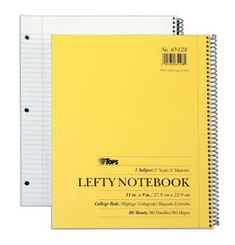 TOPS Lefty Kraft Cover Notebook, 9 x 11 Inch, College Rule, 80 Sheets, Assorted Colors Left Handed Day, Left Handed Facts, Left Handed People, Left Handed Notebooks, Left Handed Problems, Left Handed Scissors, Notebook Paper, School Supplies, In This World