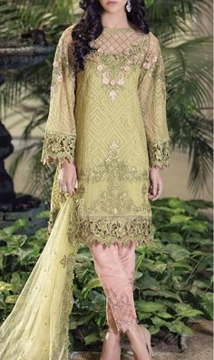 Buy Apple Green Embroidered Chiffon Dress by Maria B. 2016