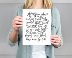 Put a song in your heart and some style in your home with this gorgeous calligraphy script hymn wall art. Designed with hymn-lovers in mind, this print combines fresh, modern script with the sweet nostalgia of hymns from your past. Display it where you will see it daily, and be