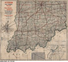 1918 Standard Road and Highway Map of Southern Indiana Showing Main Touring Routes and All Other Secondary Roads, Cities, Towns, Village and Places of Interest, Steam and Electric Railroads, Lakes and Streams