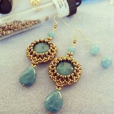 Blue and gold beaded earrings