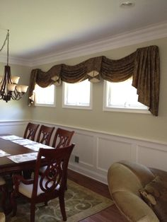 Swags and Jabot for new client dining room by Soulscape Interiors Inc.