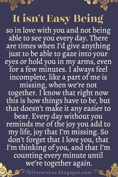 Soulmate Quotes :Long Distance Relationship Quotes It isnt easy being so in love with you and Love Quotes For Him Romantic, Love Quotes For Her, Love Yourself Quotes, Shes The One Quotes, Cant Wait To See You Quotes, Miss Me Quotes, Long Love Quotes, Romantic Poems, Now Quotes