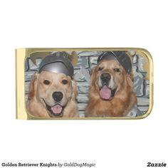Golden Retriever Knights Gold Finish Money Clip