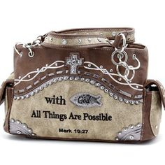 With God All Things are Possible Tan Shoulder Bag Purse