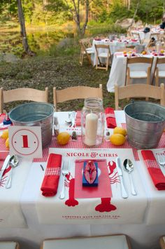 Now *that* is a table set for a lobster bake. Lobster Bake Party, Shrimp Boil Party, Crawfish Party, Crab Party, Seafood Party, Lobster Fest, Lobster Boil, Lobster Dinner, Crab Bake