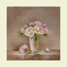 white and pale pink peonies by Helen Flont