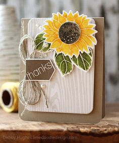 limedoodleCCCsunflower- love the white wood embossed layer along with the Kraft paper, twine and the sunflower