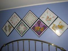 Framed vintage hankies. Find vintage handkerchiefs here; http://www.nanaluluslinensandhandkerchiefs.com/
