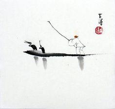 "Chinese small painting ""fishman"" 6.7x6.7"" ORIGI oriental brush ink abstract art"