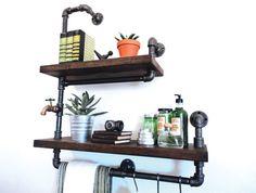Industrial Pipe Bathroom Shelf Towel Rack the by Mobeedesigns