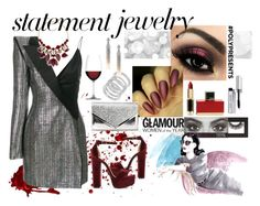"""#PolyPresents: Statement Jewelry"" by azharkhadafialr on Polyvore featuring Bobbi Brown Cosmetics, Steve Madden, Cole Haan, Thierry Mugler, INC International Concepts, Charlotte Russe, Nachtmann, Oscar de la Renta, Huda Beauty and L'Oréal Paris"