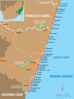 Map of towns along the Kwazulu Natal South Coast - up to the Port Edward & the Eastern Cape's border. Sa Tourism, Kwazulu Natal, Roadtrip, Africa Travel, Plan Your Trip, Countries Of The World, Trip Planning, Slogan, South Africa