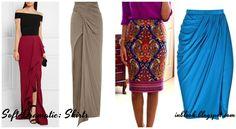Soft Dramatic. Skirts Юбки должны быть прямые, длинные (до щиколотки) и драпированные. Короткие юбки (длиной до колена) могут носиться вместе с длинной блузкой, свитером или топом. Детали должны быть удлиненными (складки, драпировки и разрезы).