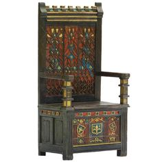 Arts & Crafts Throne Chair Polychrome Monks Bench Settle Ottoman Gothic Revival For Sale