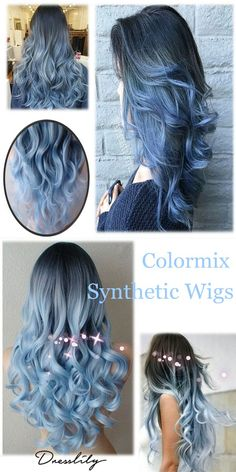 Long Center Parting Colormix Loose Wave Cosplay Synthetic Wig.Extra off code Long Center Parting Color Your Hair, Ombre Hair Color, Cool Hair Color, Blue Ombre, Pastel Blue, Royal Blue Hair, Dark Red Hair, Hair Color Techniques, Cosplay