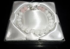 Bracelet made of semiprecious stones rock crystal and rose quartz