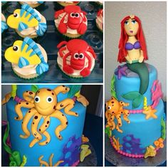 Ariel cake and cupcakes.