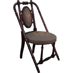 Renaissance style 'Hunzinger' Signed Antique Walnut Needlepoint Side Chair circa 1869 (A)