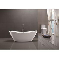 Vanity Art 71-inch Freestanding Soaking Bathtub