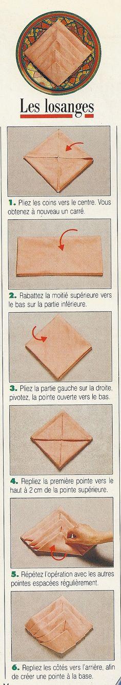 Pliage de serviettes en forme de losange