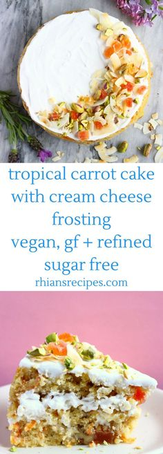 Tropical Carrot Cake with coconut, mango, pistachios and cream cheese frosting! Vegan, gluten-free, refined sugar free, easy to make #Easytastyvegandesserts