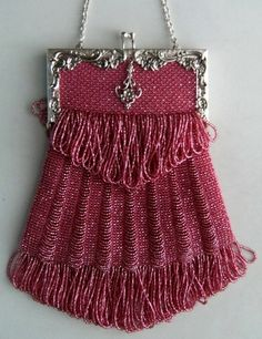 Pink beaded purse.