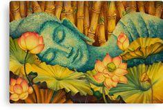 The lord Buddha. Buddha Painting - Reclining Buddha by Yuliya Glavnaya Art Buddha, Buddha Artwork, Buddha Canvas, Buddha Zen, Buddha Painting, Amitabha Buddha, Reclining Buddha, Art Asiatique, Buddhist Art