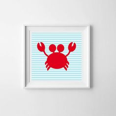 Baby Crab Nautical - Navy Blue Sea AHOY Printable Baby Nursery Decor Baby Gifts Baby Wall Art Kids Prints Wall Art Baby Boy Nursery Illustration Typography Lil' Mate by LilMateStudio